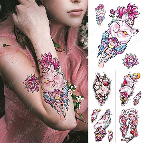 Waterproof Temporary Tattoo Sticker Ice Cream Cat Sailor Moon Flash Tattoos Pink Anime Harajuku Body Art Arm Fake Tatoo Women