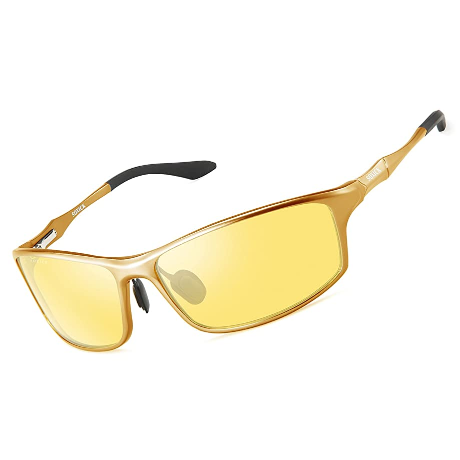 SOXICK HD Night Driving Glasses Anti Glare Safety Night Vision Glasses for Driving Polarized Sunglasses for Men Women
