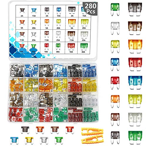 280 PCS Fuses Automotive kit,Car fuses Assortment,Blade Auto Fuses and Mini Fuse Kit 5A 7.5A 10A 15A 20A 25A 30A Car Motorcycle Truck SUV Automotive Replacement Fuses