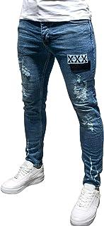 Legou Men's Slim Ripped Skinny Biker Jeans