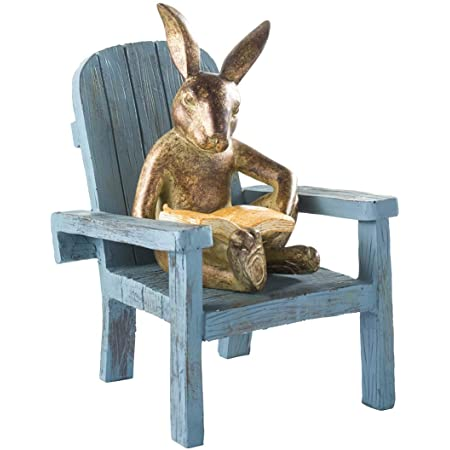 Plow Hearth Reading Rabbit Garden Statue Cast Bronze Like Resin Garden Accent All Weather Whimsical Indoor Outdoor Statue Resin And Stone Powder 5 L X 6 W X 9 H Home Kitchen