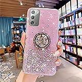 Uposao - Cover per Samsung Galaxy Note 20, con anello e anello, brillante, con glitter, motivo trasparente, in silicone gel TPU, colore: Rosa