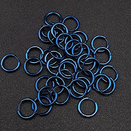 CXWK 10 unids/Lote Pendientes de aro de Acero Inoxidable Gruesos para Hombres Mujeres Azul Negro Oro Colorido círculo Redondo Pendiente