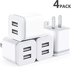 USB Wall Charger, Niluoya 4-Pack 2.1A/5V Dual Port USB Plug Power Adapter Charging Block Cube Replacement for iPhone Xs Max/Xs/XR/X/8/7/6 Plus/5S, Samsung, Kindle, LG, Android Phone