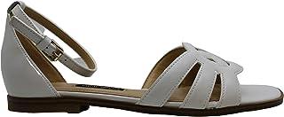 NINE WEST Womens Genna Leather Open Toe Flat Sandals