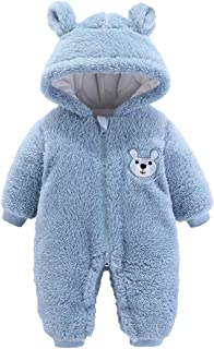 FWEIP Baby Long Sleeve Cartoon Bear Printed Plush Hoodie Jumpsuit, Boys Girls Winter Fleece Warm Romper Coat