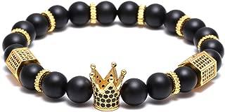 SEVENSTONE 8mm Crown King Charm Bracelet for Men Women Black Matte Onyx Stone Beads, 7.5