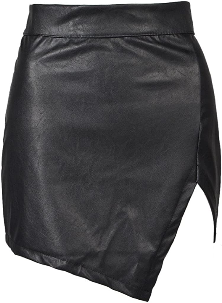 PERSUN Women's High Waisted Bodycon Faux Leather Mini Pencil Skirt