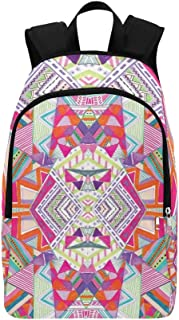 Aztec Tribal Native Navajo Geometric Native Kaleid Casual Daypack Travel Bag College School Backpack for Mens and Women
