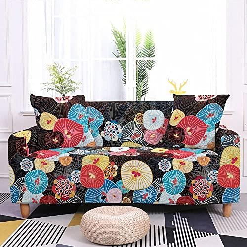 Fundas para Sofa Elastica 4 Plazas, Flor de Dibujos Animados japón Negro Estampada Suave Funda Cubre Sofá Ajustables Cubresofá Cubierta para sofá Funda Protector Funda de sillón 225-290cm