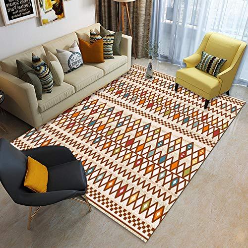 CMwardrobe Wohnzimmer Große Teppich Moderne Designer Muster Home Dekorative teppichboden Minimale geometrische Linien des orange ethnischen Stils Teppiche Kachel Pflegeleicht 120×160CM(3ft11 x5ft3)