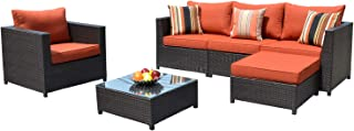 ovios Patio Furniture Set,Big Size Outdoor Furniture 6 Pcs Sets,PE Rattan Wicker sectional with 2 Pillows and Coffee Table, No Assembly Required (6 Piece Big Size, Orange red)