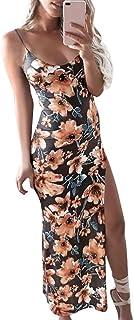 ab789908347 Femmes Robe Longue Vintage Robe à Bretelle Profonde Imprimé Fleurs Soleil  Robe d été en