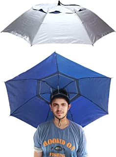 Umbrella Hat Fishing Sunshade 3.6ft Waterproof Windproof Big Headwear Hands Free Anti-UV Folding for Camping Hiking Outdoor Party
