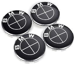 Enseng Set of 4 - Wheel Center Caps Emblem for BMW, 68mm Black BMW Rim Center Hub Caps for Most Models with BMW Wheels Logo