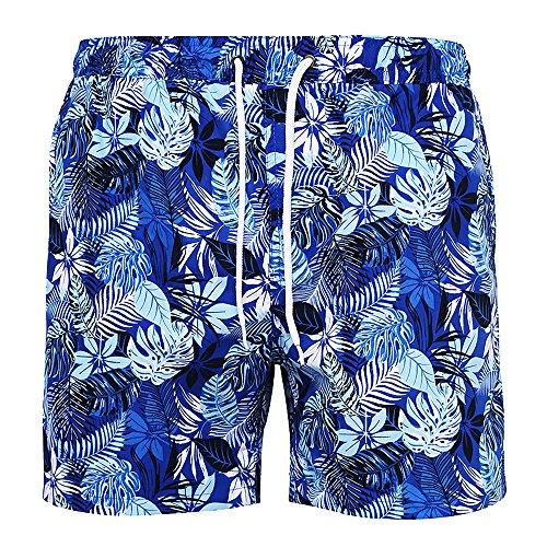 Brave Soul Herren Rocco Mikrofaser Board Shorts (XL) (Blau Print)