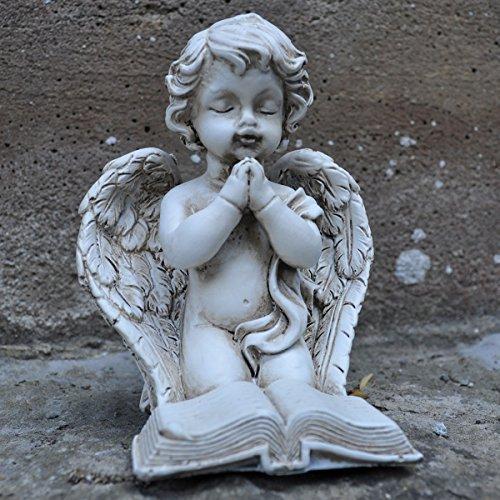 Vintage Cherub Prayer Book Sculpture Frost Proofed Stone Polyresin Angel Child. Indoor Outdoor Garden Decor H9cm