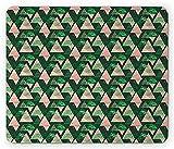 Alfombrilla de ratón grunge, triángulos interiores con hojas oscuras y rayas Creative Rainforest Nature, alfombrilla rectangular de goma antideslizante, tamaño estándar, verde cazador y rosa pálido, 2