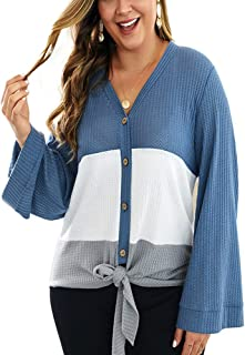 Ninmon Shares Womens Waffle Knit Tie Knot Shirts Long Sleeve Color Block Blouse