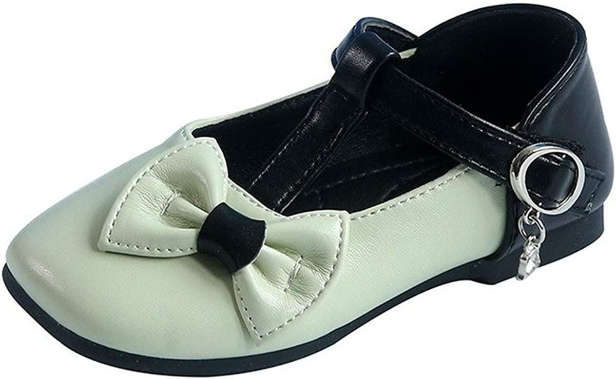 N&N Toddler Girls Mary Jane Shoes Ballerina Flats Mary Jane Front Bow Dress Shoes