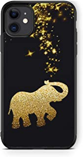 XUNQIAN iPhone 11 Case, Black Gold Glitter Elephant Pattern Thin Soft Black TPU +Tempered Mirror Material Protective Case ...