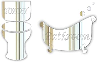 Black Friday Sale * Pack of 2 Decorative Door Plaque//Sign Glass Effect Acrylic Mirror Plaque-Bath and Toilet Signage