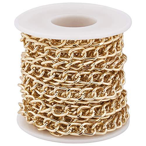 PandaHall Curb Kettingen 10x6.5x1.8mm Ronde Curb Cubaanse Ketting Ketting voor Sieraden Maken goud