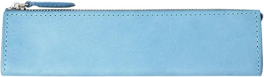 頼むゴールド後ろにペンケース 筆入れ 筆箱 Mサイズ MN 革 ライトブルー IPL-4501 スリップオン