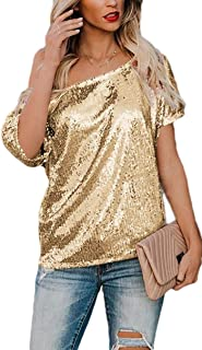 Hokny TD Women Short Sleeve Sequin One Shoulder Tops Solid T-Shirt