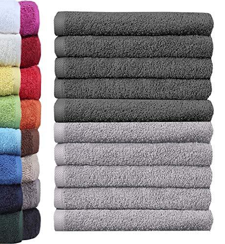 NatureMark 10er Pack Waschlappen | 100% Baumwolle | Frottier Seiflappen | Größe 30 x 30 cm | Frottee Seiftücher im 10er Pack Farbe: Anthrazit/Silber