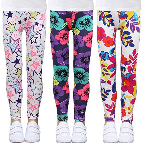 LUOUSE Toddler Girls Athletic Stretch Dance Leggings Kids Summer Justice High Waist Printed Princess Pants 3 Pack Sets Ankle Length Size 8T - 9T