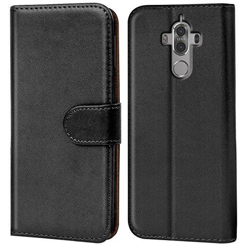 Verco Mate 9 Hülle, Handyhülle für Huawei Mate 9 Tasche PU Leder Flip Hülle Brieftasche - Schwarz