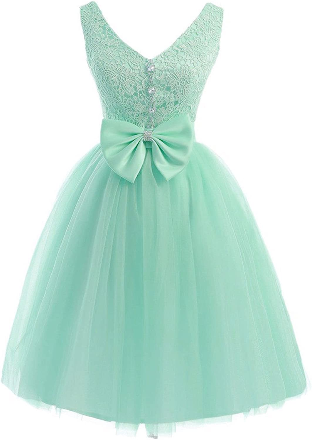 QY Bride Princess Tulle and Lace Prom Homecoming Dresses Short
