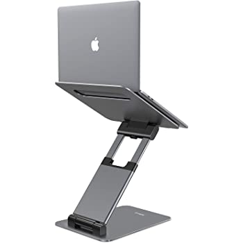 "Nulaxy Laptop Stand, Ergonomic Sit to Stand Laptop Holder Convertor, Adjustable Height from 2.1"" to 13.8"", Supports up to 22lbs, Compatible with MacBook, All Laptops Tablets 10-17"" - Space Grey"