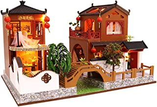 NiceBUY Miniature Wooden Dollhouse Chinese Style Dollhouse with LED Light Dustproof Cover DIY Mini Doll House for Kids Tiny House Kit with Furniture Bridge Garden Yard (No Dustproof Cover)