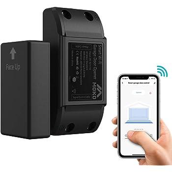 MoKo [Versión actualizada WiFi Abridor de Puerta de Garaje Inteligente, Garaje Interruptor de Apertura del Mando Controlador Remoto Inalámbrico por App, con Alexa y Google Home, Temporizador, sin Hub