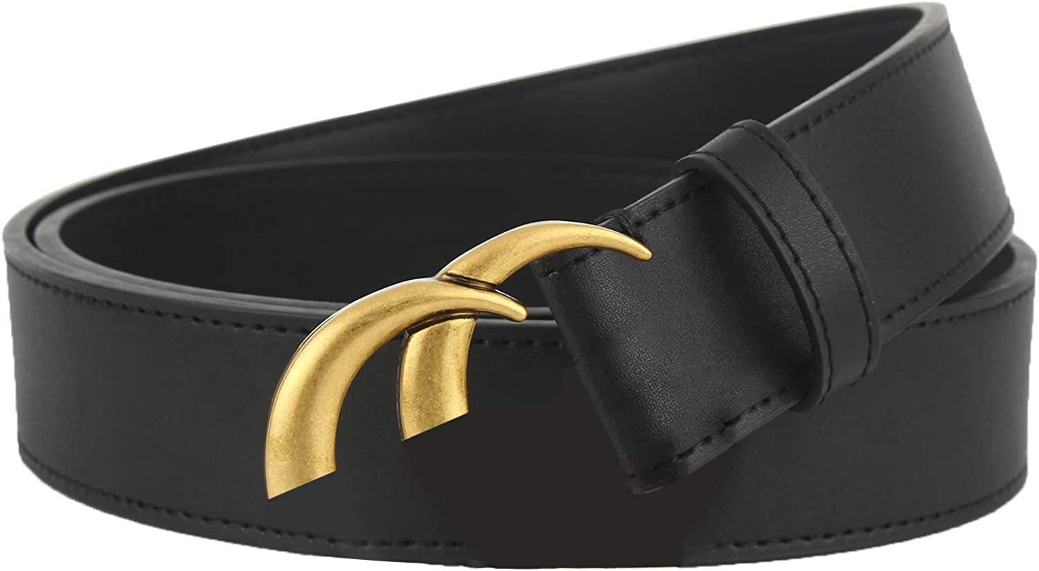 Mens Womens Double Letter Buckle Classical Leather Belts