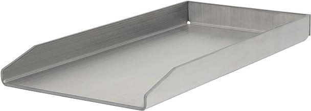 BBQ-Toro Edelstahl Grillplatte, BBQ Plancha, passend zu Weber Grill, rechteckig, 26 x 44,5 cm, universal und massiv, Grillblech für Holzkohle und Gas
