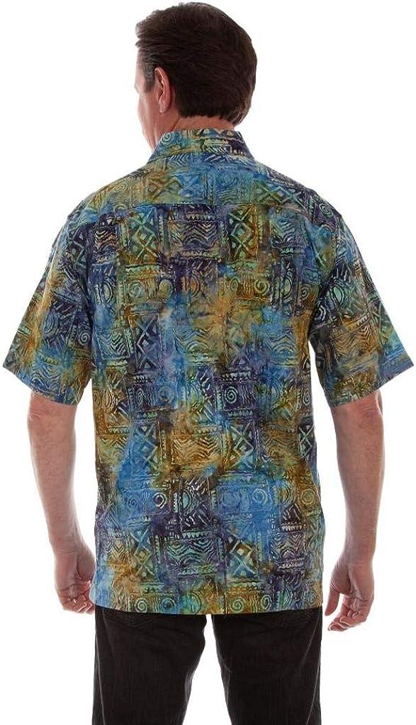 Scully Western Shirt Mens S/S Agean Batik Button Ocean F0_5264