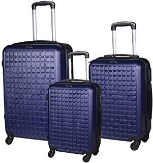 """CAREHINE 3 Piece Luggage Sets 20"""" 24"""" 28"""" Hard Shell Suitcase with Spinner Wheels Lightweight ABS Luggage Suitcase Set (Blue)"""