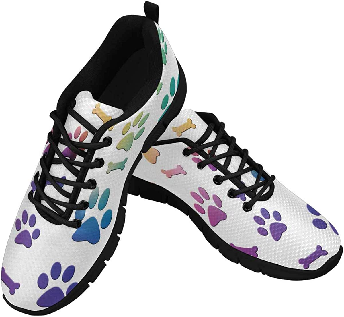 INTERESTPRINT Dog Background Paws and Bones Women's Breathable Sneaker