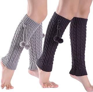 2 pares de calientapiernas para mujer Calcetines largos de invierno con punto cálido para botas de arranque (gris oscuro y gris claro)