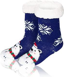Funnycokid Girls Boys Christmas Slipper Socks Non-Slip Fuzzy Winter Socks for Kids Toddlers