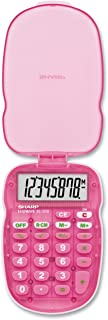 Sharp ELS10BBL Translucent 8-Digit Calculator with Hard Protective Cover, Battery Powered LCD Display, Small Pocket Calculator for Students and Professionals, Pink