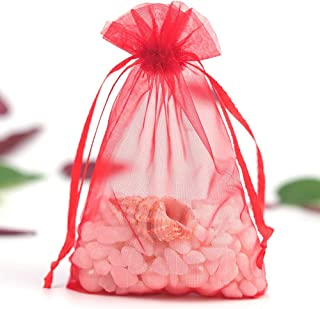 100Pcs Organza Bags Drawstring Pouches Wedding Party Favor Gift Bag Jewelry Watch Christmas Candy Bags,Red,35x50cm