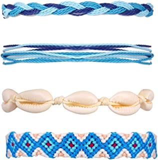 5 Pcs Handmade Braided Bracelets Friendship Fashion Woven Waterproof Shell Bracelets with Adjustable Rope for Women