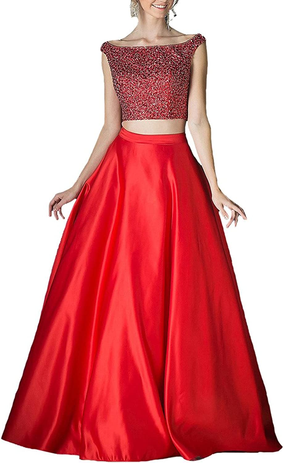 Dearta Women's ALine Two Pieces Long Cap Prom Party Homecoming Dresses