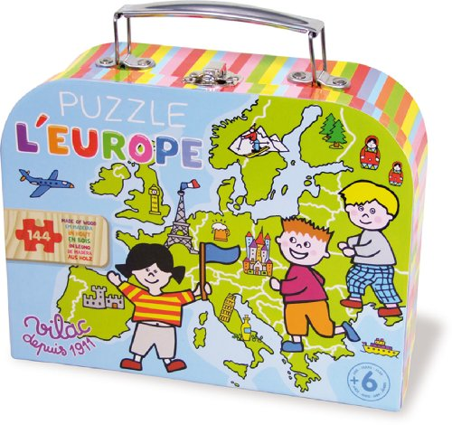 Vilac 2605 - Cartina Geografica dell'Europa Puzzle, in Valigia, Legno Colorato