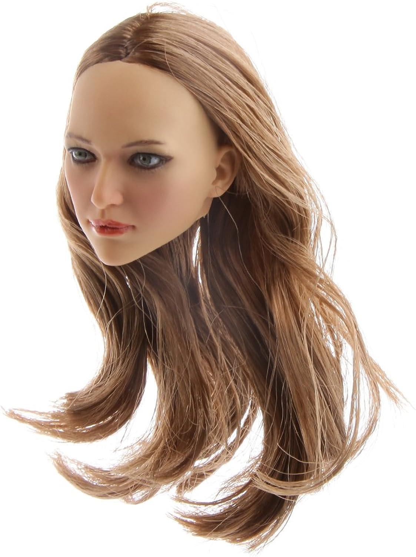 MagiDeal 1 6 Scale Action Figure Female Long Brown Hair Head Sculpt KUMIM1622A for 12 inch Hot Toys Phicen Kumik CY CG Girls BBI Body
