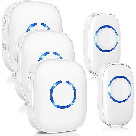 504D LED Timbre inal/ámbrico Timbre de la puerta Timbre de la puerta y Wireles Control remoto 32 Tune Songs White Seguridad para el hogar Uso Timbre de la puerta inteligente